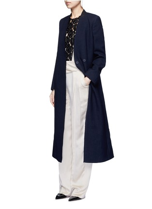 Figure View - Click To Enlarge - Lanvin - Felt collar wool blend coat