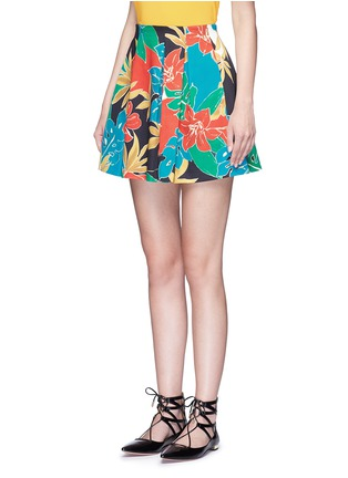 Front View - Click To Enlarge - alice + olivia - 'Connor' floral print box pleat skirt