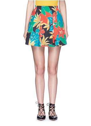 Main View - Click To Enlarge - alice + olivia - 'Connor' floral print box pleat skirt