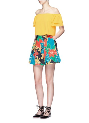 Figure View - Click To Enlarge - alice + olivia - 'Connor' floral print box pleat skirt
