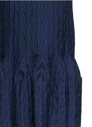 Detail View - Click To Enlarge - Alaïa - 'Segovie' peplum hem stripe jacquard knit dress