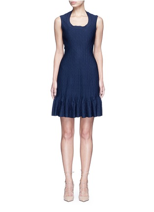 Main View - Click To Enlarge - Alaïa - 'Segovie' peplum hem stripe jacquard knit dress