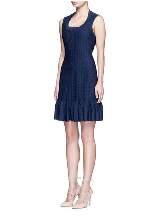 Figure View - Click To Enlarge - Alaïa - 'Segovie' peplum hem stripe jacquard knit dress