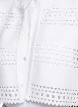 Detail View - Click To Enlarge - Alaïa - 'Vienne d'hiver' geometric cutout cropped cardigan