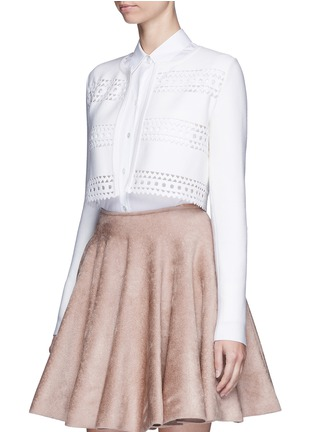 Front View - Click To Enlarge - Alaïa - 'Vienne d'hiver' geometric cutout cropped cardigan