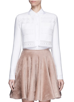 Main View - Click To Enlarge - Alaïa - 'Vienne d'hiver' geometric cutout cropped cardigan