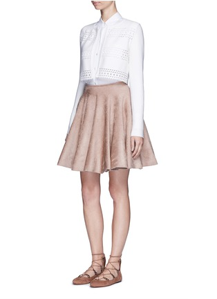 Figure View - Click To Enlarge - Alaïa - 'Vienne d'hiver' geometric cutout cropped cardigan