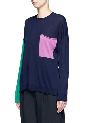 Front View - Click To Enlarge - Ports 1961 - Colourblock pocket wool sweater