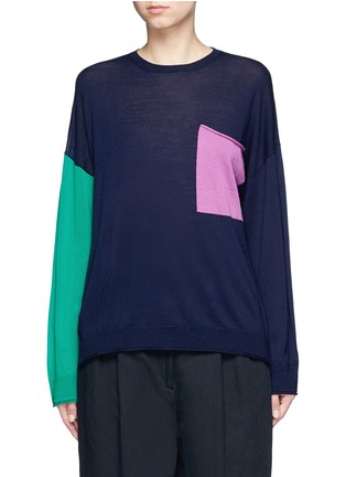 Main View - Click To Enlarge - Ports 1961 - Colourblock pocket wool sweater