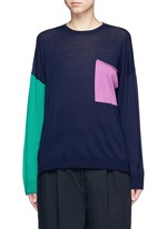 Colourblock pocket wool sweater