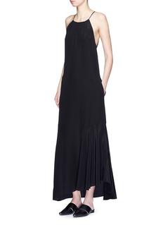 THEORY'Ressie' halterneck asymmetric silk dress