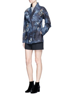 Valentino Butterfly embroidered tie dye print denim kimono jacket
