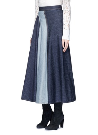 Front View - Click To Enlarge - Lanvin - Wavy fade panel denim skirt
