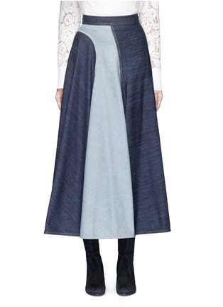 Main View - Click To Enlarge - Lanvin - Wavy fade panel denim skirt