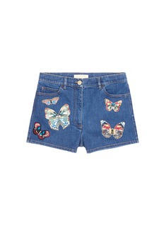 VALENTINO Embroidered butterfly appliqué denim shorts