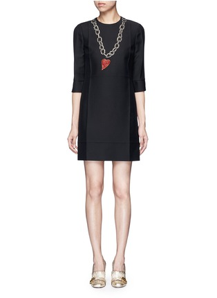 Main View - Click To Enlarge - Gucci - Embellished heart and chain dress