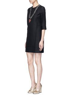 GUCCI 仿水晶链条及心形装饰羊毛混丝连衣裙