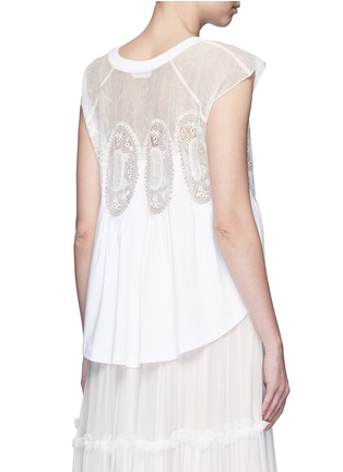 Back View - Click To Enlarge - Chloé - Geometric lace insert jersey T-shirt