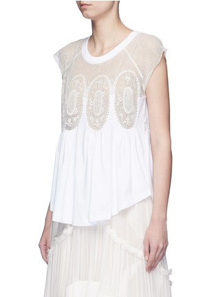 Front View - Click To Enlarge - Chloé - Geometric lace insert jersey T-shirt