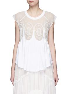 ChloéGeometric lace insert jersey T-shirt