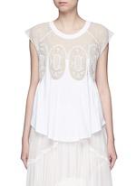 Geometric lace insert jersey T-shirt