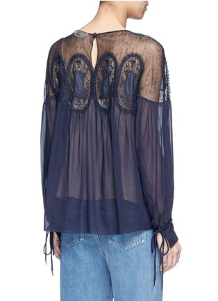 Back View - Click To Enlarge - Chloé - Geometric lace insert cotton voile top