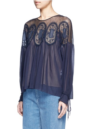 Front View - Click To Enlarge - Chloé - Geometric lace insert cotton voile top