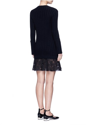 Back View - Click To Enlarge - Valentino - Lace hem virgin wool-cashmere sweater dress