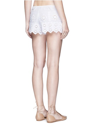 Back View - Click To Enlarge - Miguelina - 'Minnie' geometric cutwork embroidery drawstring shorts