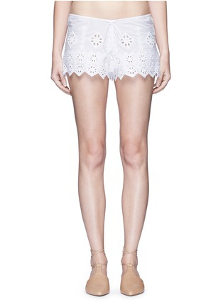 Main View - Click To Enlarge - Miguelina - 'Minnie' geometric cutwork embroidery drawstring shorts