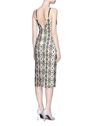 Back View - Click To Enlarge - alice + olivia - 'Arlette' tribal bead embellished midi dress