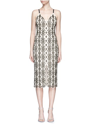 Main View - Click To Enlarge - alice + olivia - 'Arlette' tribal bead embellished midi dress