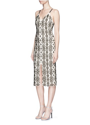 Figure View - Click To Enlarge - alice + olivia - 'Arlette' tribal bead embellished midi dress