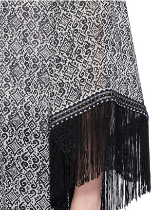 Detail View - Click To Enlarge - Talitha - 'Zoya' fringed tribal print silk cover-up