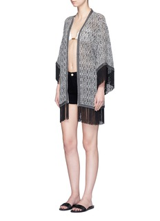 Talitha 'Zoya' fringed tribal print silk cover-up