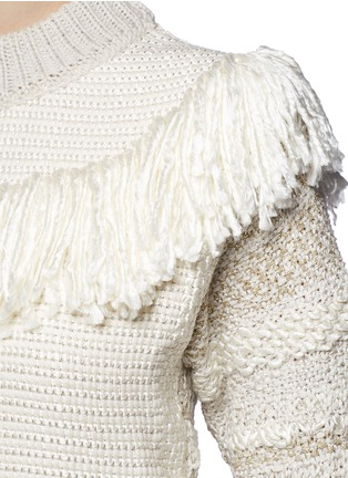 Detail View - Click To Enlarge - Lanvin - Fringed shoulder metallic tweed knit sweater