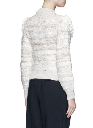 Back View - Click To Enlarge - Lanvin - Fringed shoulder metallic tweed knit sweater