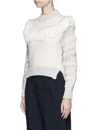 Front View - Click To Enlarge - Lanvin - Fringed shoulder metallic tweed knit sweater