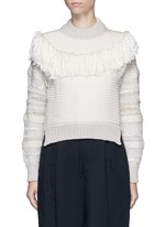 Fringed shoulder metallic tweed knit sweater