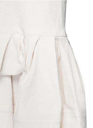 Detail View - Click To Enlarge - Lanvin - Asymmetric ruffle linen blend midi skirt