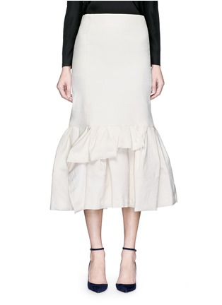 Main View - Click To Enlarge - Lanvin - Asymmetric ruffle linen blend midi skirt