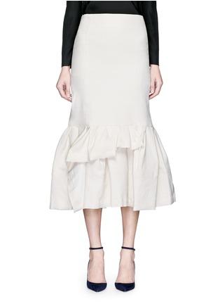 Main View - Click To Enlarge - Lanvin - Asymmetric ruffle linen blend midi skirt