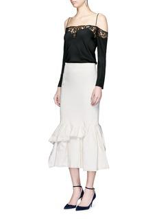 LanvinAsymmetric ruffle linen blend midi skirt
