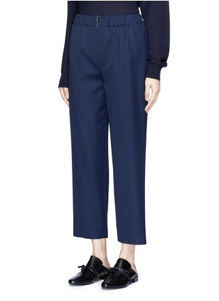 Front View - Click To Enlarge - The Row - 'Arez' zip elastic waist virgin wool pants