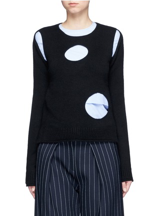 Front View - Click To Enlarge - Ports 1961 - Geometric cutout cashmere sweater
