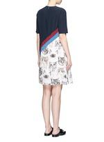 'Bellucci' stripe pleated cat print dress