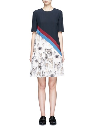 Main View - Click To Enlarge - Stella McCartney - 'Bellucci' stripe pleated cat print dress