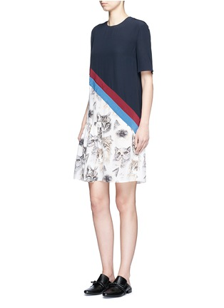 Figure View - Click To Enlarge - Stella McCartney - 'Bellucci' stripe pleated cat print dress