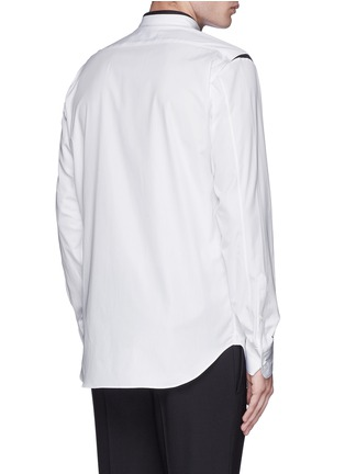 Back View - Click To Enlarge - Alexander McQueen - Shoulder stripe cotton shirt