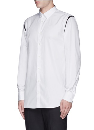 Front View - Click To Enlarge - Alexander McQueen - Shoulder stripe cotton shirt